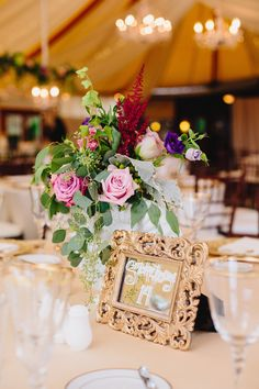 Victorian inspired centerpiece at Castle Hill Inn wedding reception in Newport, RI