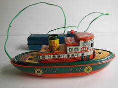 Vintage Louis Marx Tin Toy Litho - Tug Boat Battery Operated Seascape Japan