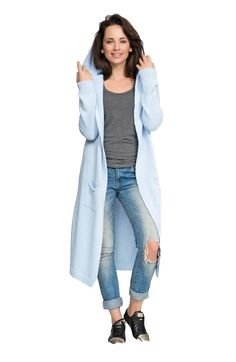 Women Hooded Maxi Sweater with Hood - Sweaters are a woman's wardrobe essential: warm, soft to the touch and easy to layer. - Keep your look chic and stylish this fall, whether at work or play. - Long