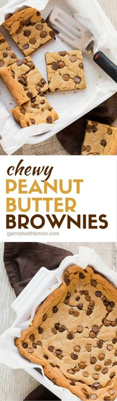 Chewy Peanut Butter Brownies are just like a big cookie. Crisp on the edges and chewy in the middle and are made with just one bowl!