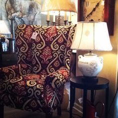 Chairs are a great way to add a fun fabric to any space. Iowa Interior Designers | Surroundings Interiors