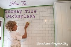Tutorial on installing a subway tile backsplash and grouting tile.