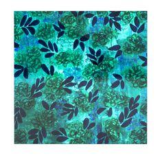 "Ebi Emporium ""Grunge Flowers III"" Teal Floral Luxe Square Panel"