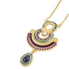 Purple and Teal Goddess Necklace - $18.00