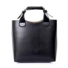 Vintage Women's Leather Handbag With Buckle and Solid Color Design