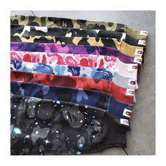 More colors, more fun! More camo, more style! Get this camo collection by A Bathing Ape! #a bathing ape #a bathing ape by bape #bapeforsale #bapesta #bapesz #bape #bapecamo #streetstyle