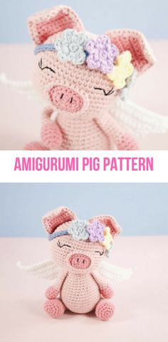 I love this little crochet amigurumi pig pattern!  She has such a sweet face and comes with instructions for her little wings and a flower tiara. #crochet #amigurumi #pig #angel #whenpigsfly #ad