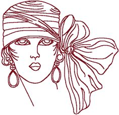 Redwork Flapper with Bow Hat Embroidery Design