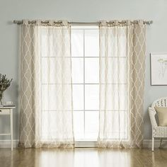 Taupe Moroccan 52 x 96 In. Sheer Curtain Panel
