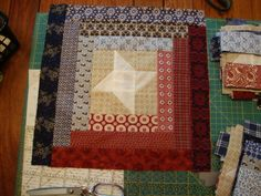Love the friendship star and log cabin square with civil war fabric
