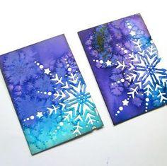 Elves In The Attic: Salt & Watercolor Backgrounds (ATCs) - Basteln Winter Art Projects, Winter Crafts For Kids, Art For Kids, Preschool Winter, Salt Watercolor, Watercolor Cards, Watercolor Backgrounds, Salt Art, Snowflakes Art