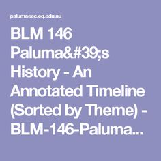BLM 146 Paluma& History - An Annotated Timeline (Sorted by Theme) - My Family History, Sorting, Timeline, Pdf