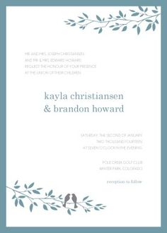 Customize Love Bird Wedding Invitation