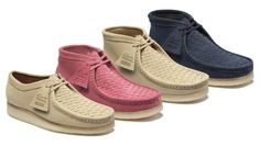 "Supreme x Clarks Originals Wallabee ""Woven"" Pack - EU Kicks: Sneaker Magazine Me Too Shoes, Men's Shoes, Shoe Boots, Baby Shoes, Clarks Shoes Mens, Clarks Boots, Air Jordan, Reebok, Clarks Originals Desert Boot"