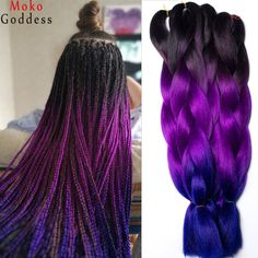 Ali MoKoGoddess Ombre Kanekalon Hair Two Tone Three Tone 24 Inch Synthetic Hair Extensions 100g pack. Click visit to buy #Hair #Braids #HairBraids