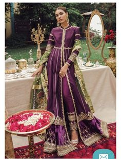 Love Pakistani Gharara And Anarkalis? Here's What They Cost Gorgeous eggplant purple gold Pakistani Pakistani Fashion Party Wear, Pakistani Dresses Casual, Pakistani Wedding Outfits, Pakistani Dress Design, Bridal Outfits, Indian Fashion, Mode Bollywood, Bollywood Fashion, Bollywood Style