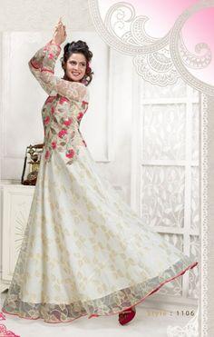 Designer Party Wear White Georgette Gown