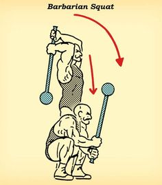 steel mace barbarian squat workout how to diagram illustration