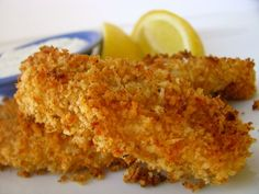 Good recipe: mix a bit of olive oil with panko to make a crispy coating for baked fish sticks. Will still play around with the seasonings. Will make again. Definitely serve with lemon!