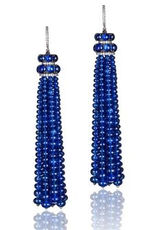Bayco sapphire bead tassel earrings