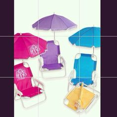 Monogrammed Kids beach chair with umbrella by southernsassbybrit, $35.00