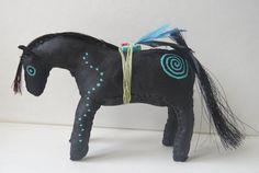Native American Indian Zuni fetish horse folk doll soft model primitive rock art cowboy cowgirl wild west country southwestern pony rustic