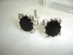 MAD MEN CUFF Links Black Onyx Silver 1960s by MississippiDeltaTrea, $32.00  MUST HAVE FOR ELEGANT SUMMER WEDDING, OR FATHER'S DAY, GRADUATION GIFT...