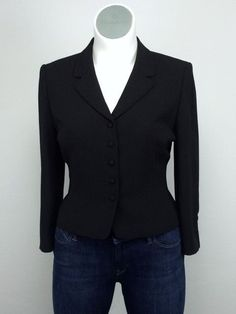 Tahari 16P Arthur S Levine Black Blazer Jacket Vintage Retro Style XL…