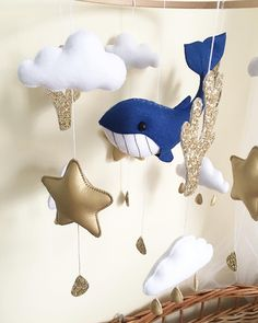 Whale Mobile, Baby Crib Mobile, Baby Cribs, Hanging Crib, Nautical Nursery Decor, Newborn Toys, Felt Baby, Pregnancy Gifts, All Toys