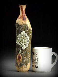 Weathered fencepost wood vase, fragrant Eastern Red Cedar, with lichen. (Timberturner.com)