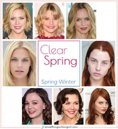 Clear Spring, Spring-Winter seasonal color celebrities by Source by clothes Bright Spring, Clear Spring, Clear Winter, Warm Spring, Winter Colors, Spring Colors, Spring Color Palette, Color Palettes, Seasonal Color Analysis