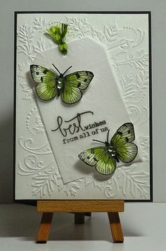 Cathys Card Spot: Green butterflies on vellum tag. Stamped butterflies, fussy cut them & color w/ inktense pencils.
