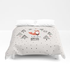 4740a1947a7d Buy Cute red fox in the fir trees with snow. Duvet Cover by ojardin.  Worldwide shipping available at Society6.com. Just one of millions of high  quality ...