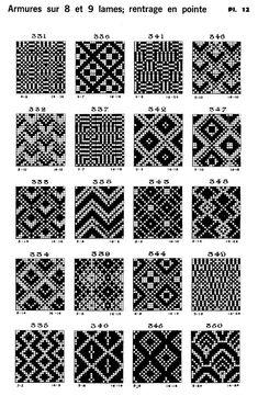 Atlas de 4000 armures de L. Serrure, a handbook of shaft dobby weaves and Spot weaves on 12 shafts Tablet Weaving, Weaving Art, Loom Weaving, Tapestry Crochet Patterns, Loom Patterns, Loom Bands, Knitting Charts, Knitting Patterns, Swedish Weaving Patterns