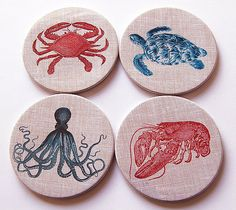 A set of 4 fun coasters - perfect for the beach house. Each coaster measures 3.5 inches (89mm) in diameter. I make my coasters using a Tecre punch.