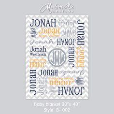 Monogrammed Blanket - Personalized Receiving Blanket for Boys, Chevron Baby Blanket, Newborn Swaddling Blanket, Baby Photo Prop by ModernMixDesigns on Etsy https://www.etsy.com/listing/224394008/monogrammed-blanket-personalized