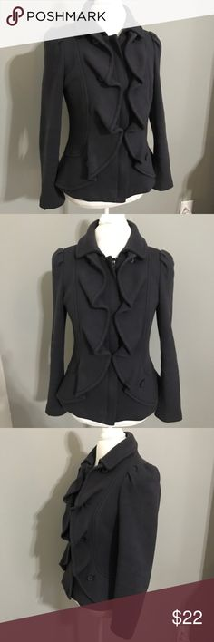 INC Navy Blue Jacket W/ Ruffle Front Size M Navy blue jacket with ruffle front in good shape! Made of 100% cotton. length is 22 inches, across the chest is 18 and the sleeve length is 17 inches. INC International Concepts Jackets & Coats