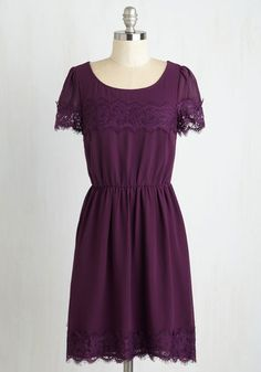One of a Kindhearted Dress in Plum - Purple, Solid, Lace, Casual, A-line, Short Sleeves, Woven, Mid-length, Party, Top Rated