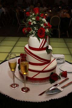Red Wedding Cake...buttercream icing and red ribbon