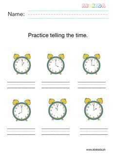 Telling time worksheets for preschoolers. Free Math Worksheets, Telling Time, Learning, Studying, Teaching, Onderwijs