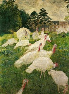 The Turkeys at Chateau de Rottenbourg, Montgeron by Claude Monet, 1877, Musee d'Orsay, Paris - large and very beautiful in person