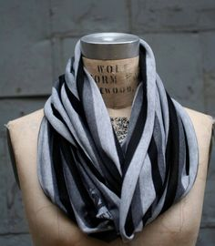 Striped Loop Scarf - FREE SHIPPING - Gray and Black Scarf - Mens Scarves - Sale. $19.50, via Etsy.