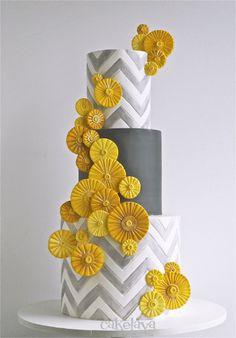 """""""RachelR"""" wedding cake by Rick Reichart, cakelava.  Yellow and gray wedding cake"""