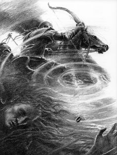 I'm pretty certain that this is Isildur being betrayed by the ring to his death. By ALAN LEE -TL