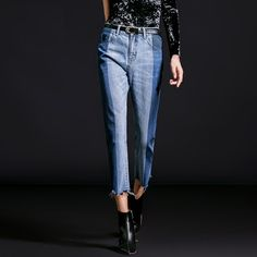 Side-Split Hem Denim Jeans