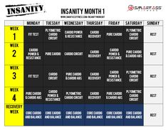 This last month has been the best! Love Insanity.   What my past month workout has been like  Insanity_Workout_Schedule.png 1,053×813 pixels