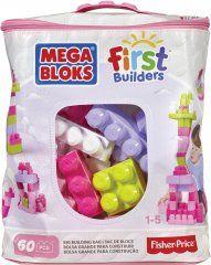 Mega Bloks First Builders 60 Maxi Blokken Met Tas Roze - Constructiespeelgoed Big Building, White Out Tape, Big Bags