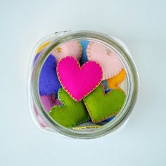 Felt Hearts: Ease your kindergartner's first day at school by creating a little heart to keep in their pocket. Make a whole jar so you can always find one on days they need a little extra love.