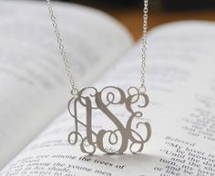 """18"""" chain, silver or gold.  Name necklaces personalized items monogram necklace 1in-1001010 RUSH SHIPPING. $59.00, via Etsy."""