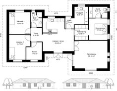 Plantegning_h_hus_154_HusCompagniet Planer, Beams, House Plans, Floor Plans, Houses, Flooring, How To Plan, House Styles, Projects
